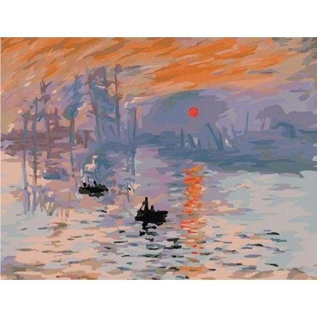 DIY Paint by Number kit for Adults on Canvas-[Ships from USA] Impression Sunrise - Claude Monet-Clean PBN