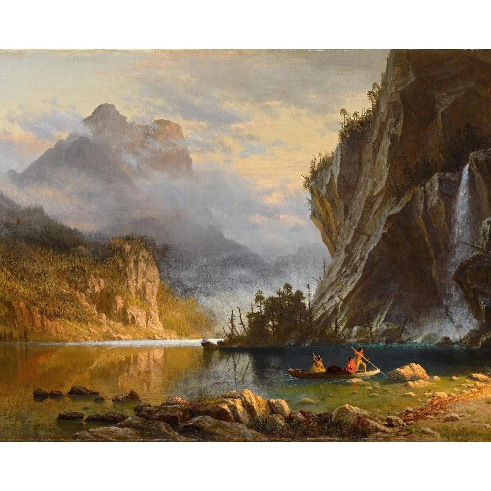 DIY Paint by Number kit for Adults on Canvas-Indians Spear Fishing - Albert Bierstadt - 1862-