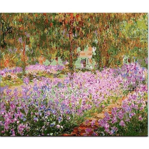 DIY Paint by Number kit for Adults on Canvas-Irises in Monet's Garden - Claude Monet -1900-Clean PBN