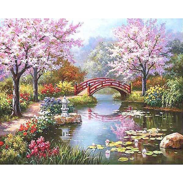 DIY Paint by Number kit for Adults on Canvas-Japanese River Garden-40x50cm (16x20inches)