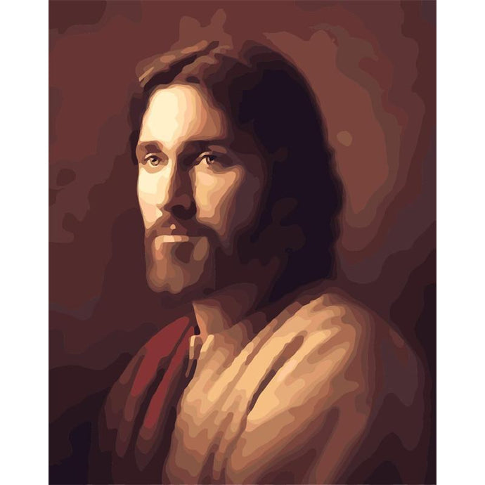 DIY Paint by Number kit for Adults on Canvas-Jesus Christ Portrait-40x50cm (16x20inches)