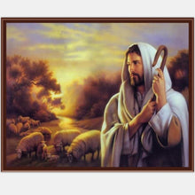 DIY Paint by Number kit for Adults on Canvas-Jesus Flock of Sheep-40x50cm (16x20inches)