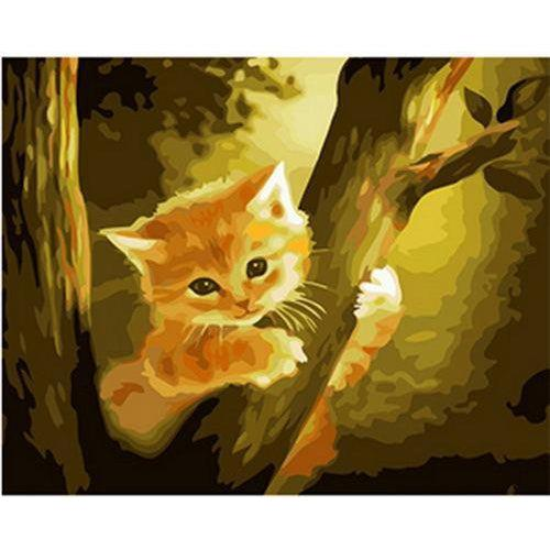 DIY Paint by Number kit for Adults on Canvas-Kitten in a Tree-Painting & Calligraphy
