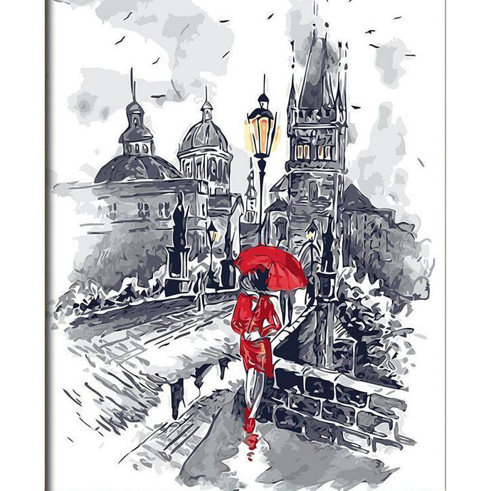 DIY Paint by Number kit for Adults on Canvas-Lady in Red White City Backdrop-40x50cm (16x20inches)