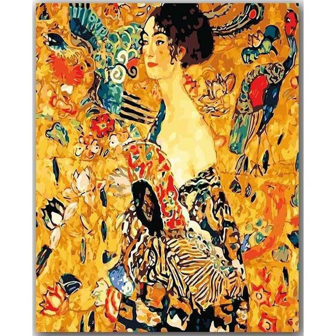 DIY Paint by Number kit for Adults on Canvas-Lady with Fan - Gustav Klimt-Clean PBN