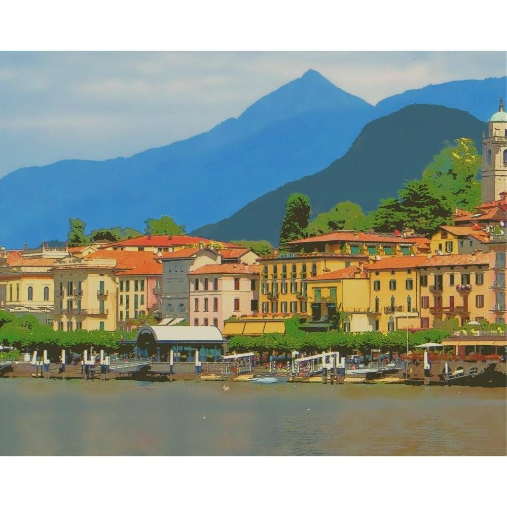 DIY Paint by Number kit for Adults on Canvas-Lake Como Italy-
