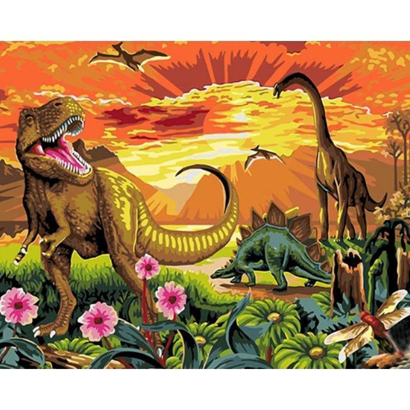 DIY Paint by Number kit for Adults on Canvas-Land before time Dinosaurs-40x50cm (16x20inches)
