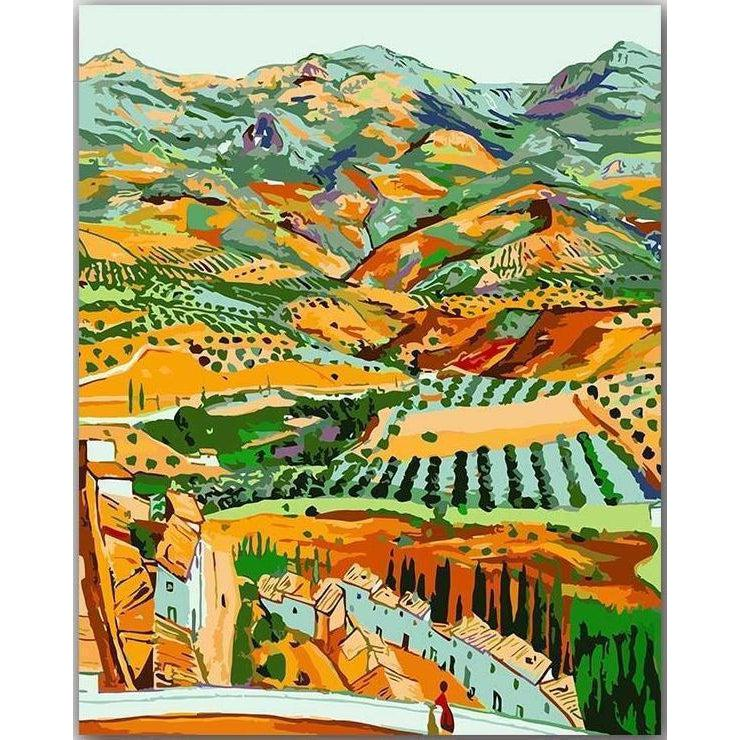 DIY Paint by Number kit for Adults on Canvas-Landscape and Fique Vault - Rafael Zabaleta-Clean PBN
