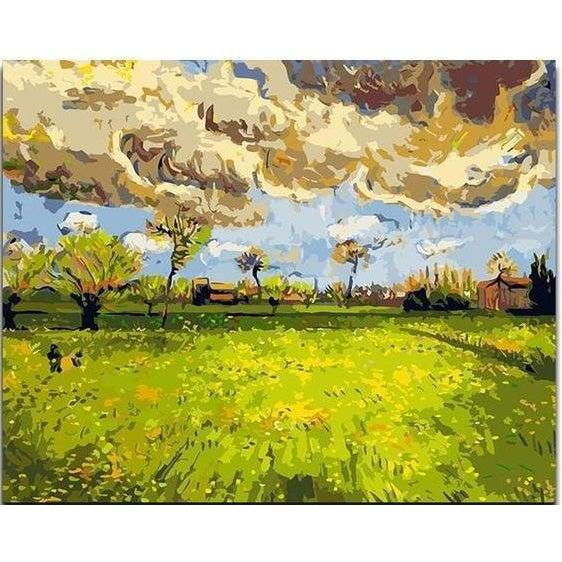 DIY Paint by Number kit for Adults on Canvas-Landscape under a Stormy Sky - Van Gogh 1888-Clean PBN