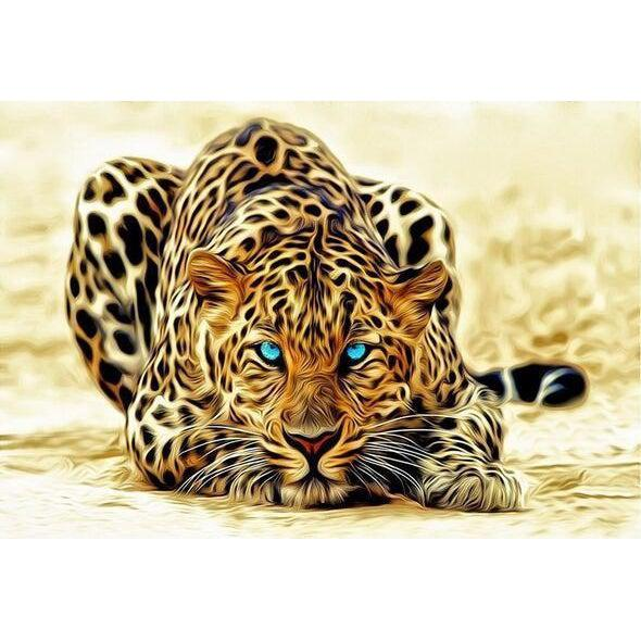 DIY Paint by Number kit for Adults on Canvas-Leopard Strike-40x50cm (16x20inches)