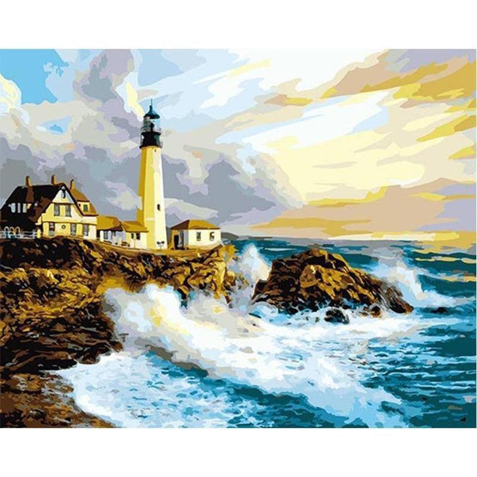DIY Paint by Number kit for Adults on Canvas-Lighthouse on the Coast-40x50cm (16x20inches)