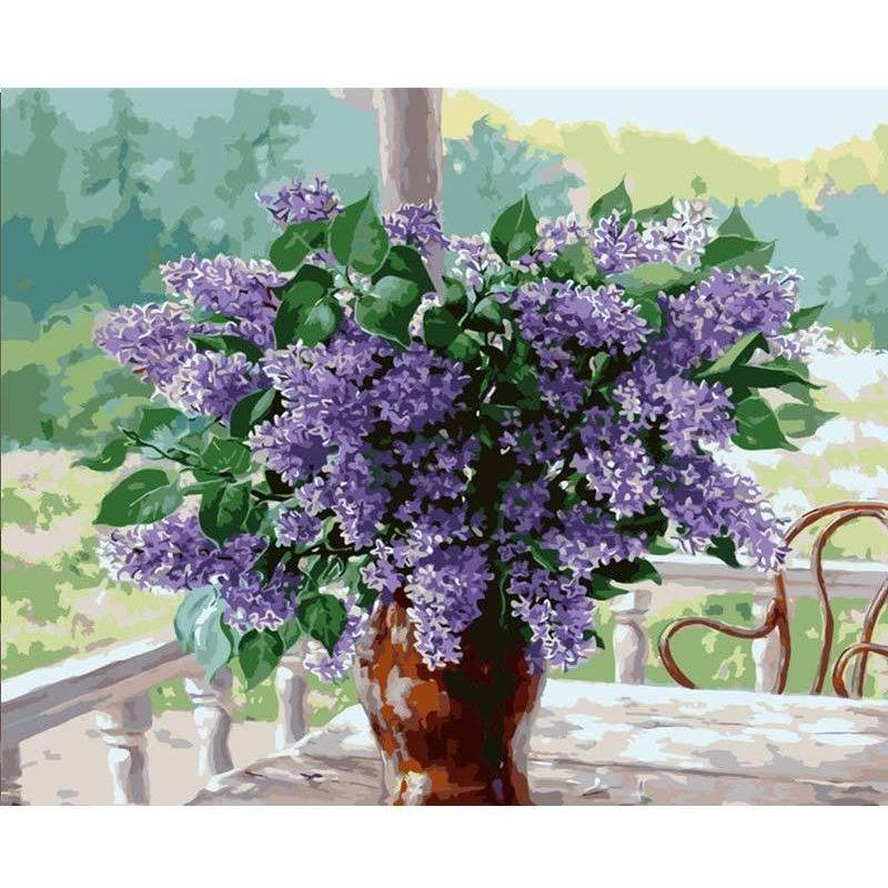 DIY Paint by Number kit for Adults on Canvas-Lilacs on the Patio-40x50cm (16x20inches)