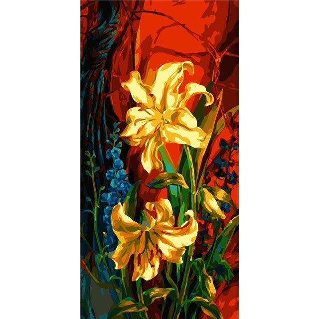 DIY Paint by Number kit for Adults on Canvas-Lilies [EXTRA Large Print]-40x80cm (16x32inches)