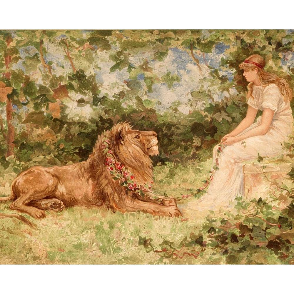 DIY Paint by Number kit for Adults on Canvas-Lion in Love - Frederick Stuart - 1885-Clean PBN