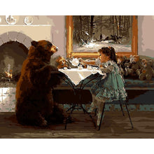 DIY Paint by Number kit for Adults on Canvas-Little Girl and Cub Tea Party-40x50cm (16x20inches)