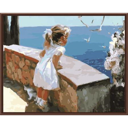 DIY Paint by Number kit for Adults on Canvas-Little Girl Watching Birds-40x50cm (16x20inches)