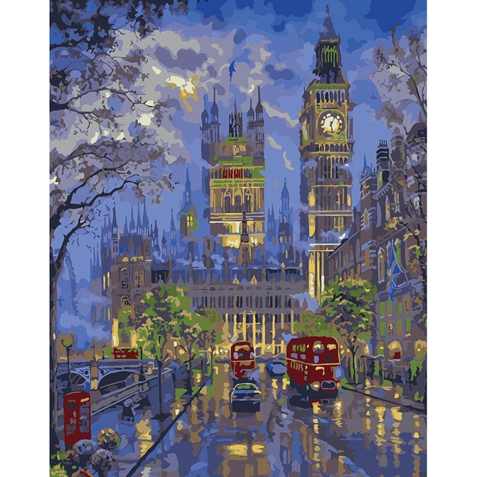 DIY Paint by Number kit for Adults on Canvas-London Enchantment-40x50cm (16x20inches)