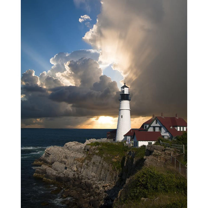 DIY Paint by Number kit for Adults on Canvas-Lone Lighthouse-Clean PBN