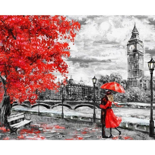 DIY Paint by Number kit for Adults on Canvas-Love in London-Home
