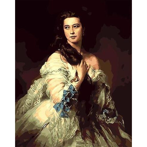 DIY Paint by Number kit for Adults on Canvas-Madame Barbe de Rimsky Korsakov - Franz Xavier Winterhalter-Clean PBN