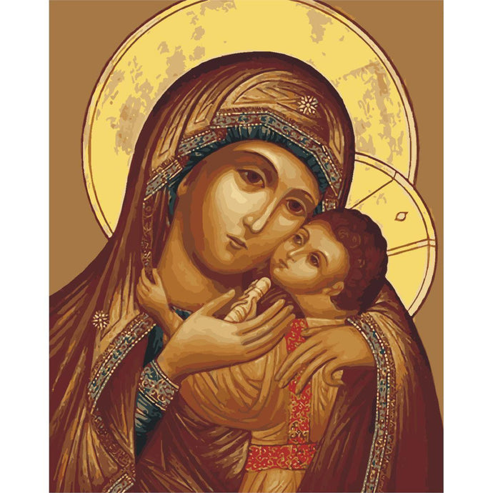 DIY Paint by Number kit for Adults on Canvas-Madonna and Child-40x50cm (16x20inches)