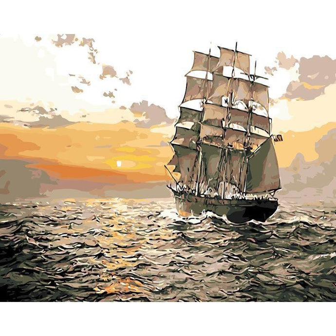 DIY Paint by Number kit for Adults on Canvas-Majestic Ship-40x50cm (16x20inches)