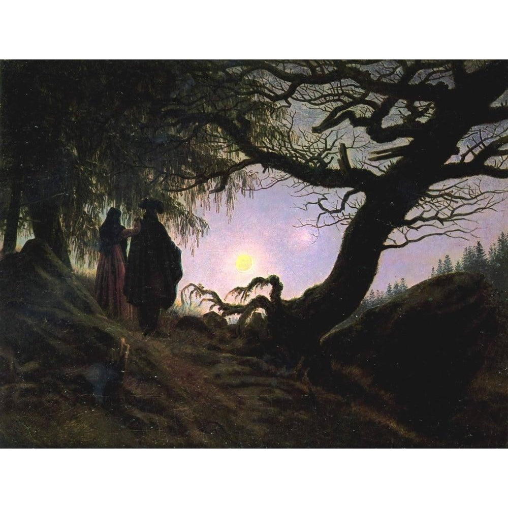 DIY Paint by Number kit for Adults on Canvas-Man and Woman contemplating the moon - Caspar David Friedrich - 1818-1824-Clean PBN