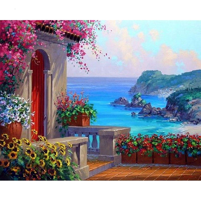 DIY Paint by Number kit for Adults on Canvas-Mediterranean Coast-40x50cm (16x20inches)