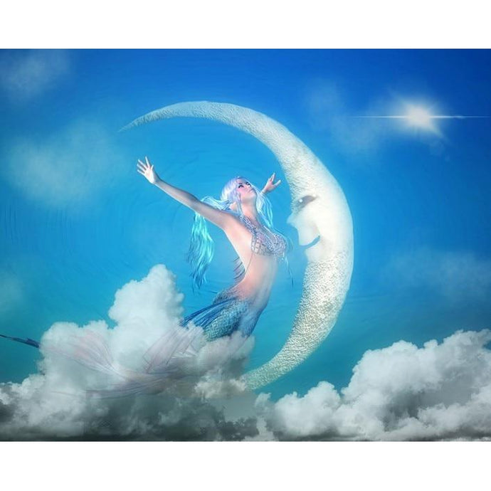 DIY Paint by Number kit for Adults on Canvas-Mermaid and the Moon-Clean PBN