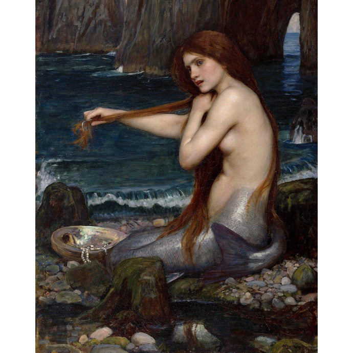 DIY Paint by Number kit for Adults on Canvas-Mermaid - John William Waterhouse - 1900-Clean PBN