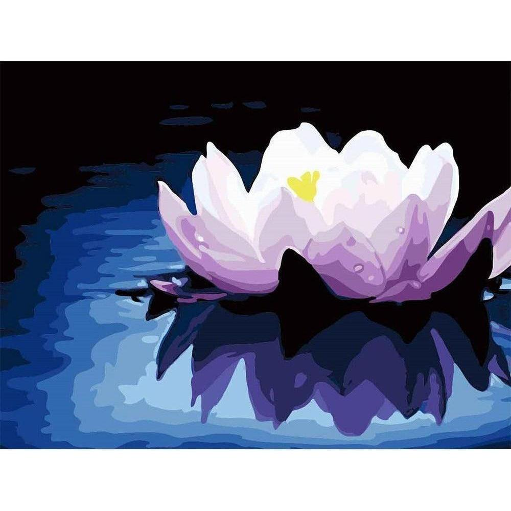 DIY Paint by Number kit for Adults on Canvas-Midnight Lotus-