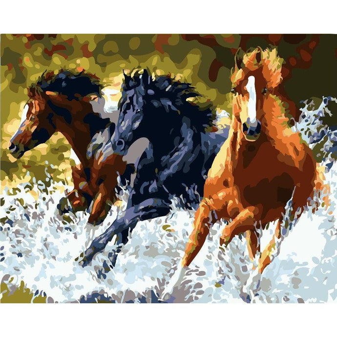 DIY Paint by Number kit for Adults on Canvas-Mighty Horse Race-40x50cm (16x20inches)