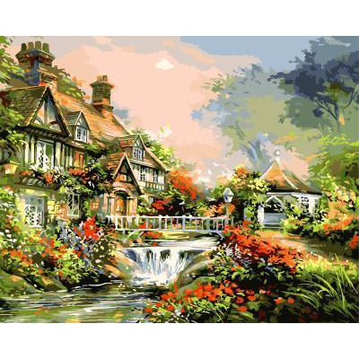 DIY Paint by Number kit for Adults on Canvas-Mini Waterfall in Town-30x40cm (12x16inces)