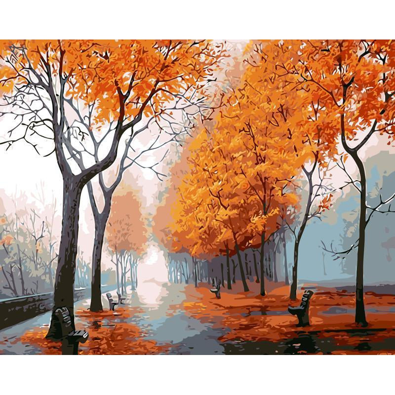 DIY Paint by Number kit for Adults on Canvas-Misty Autumn Morning [LIMITED PRINT]-40x50cm (16x20inches)