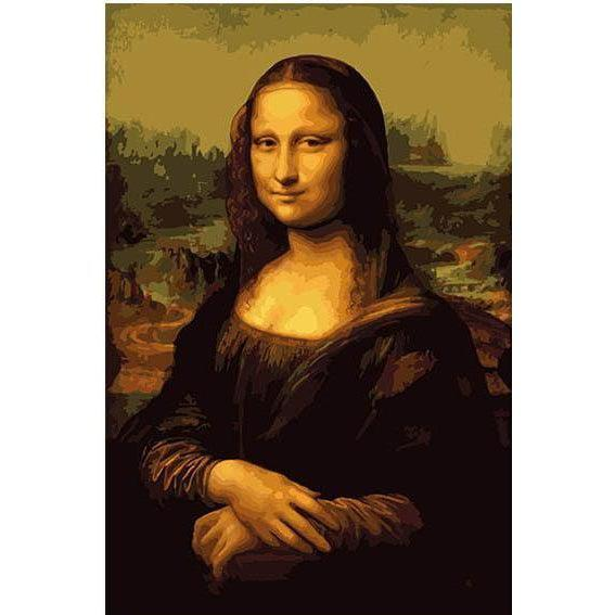 DIY Paint by Number kit for Adults on Canvas-Mona Lisa - Da Vinci-Clean PBN