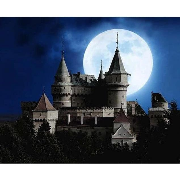 DIY Paint by Number kit for Adults on Canvas-Moonlit Castle-Painting & Calligraphy