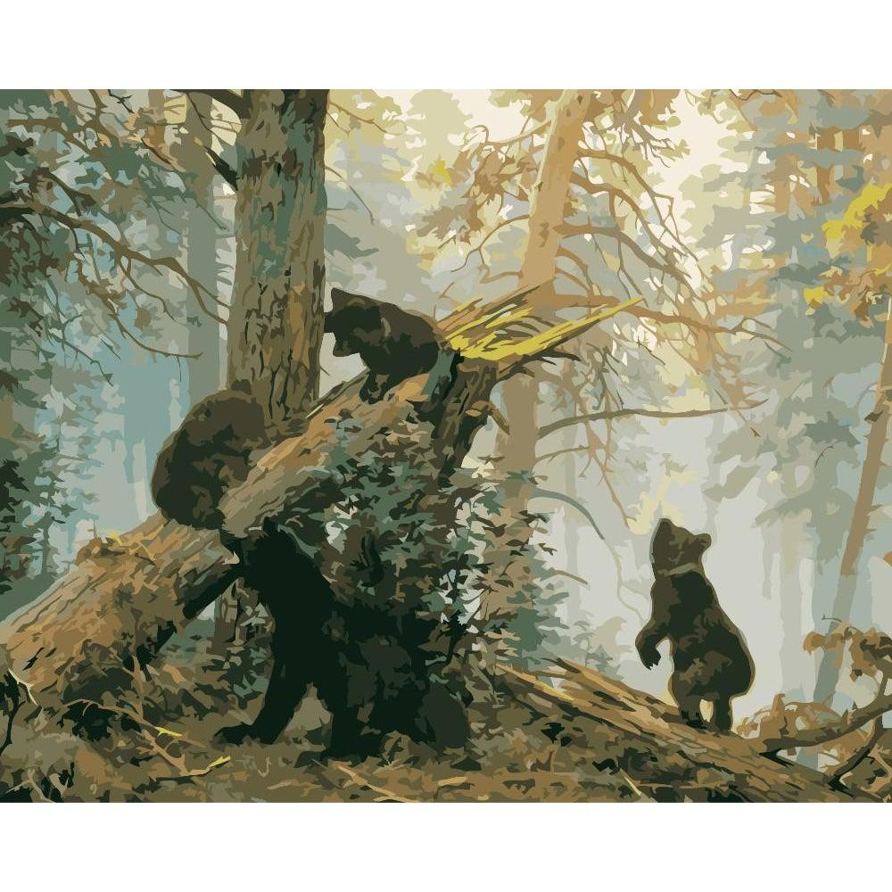 DIY Paint by Number kit for Adults on Canvas-Morning in a Pine Forest - Ivan Shishkin and Konstantin Savitsky 1889-Clean PBN