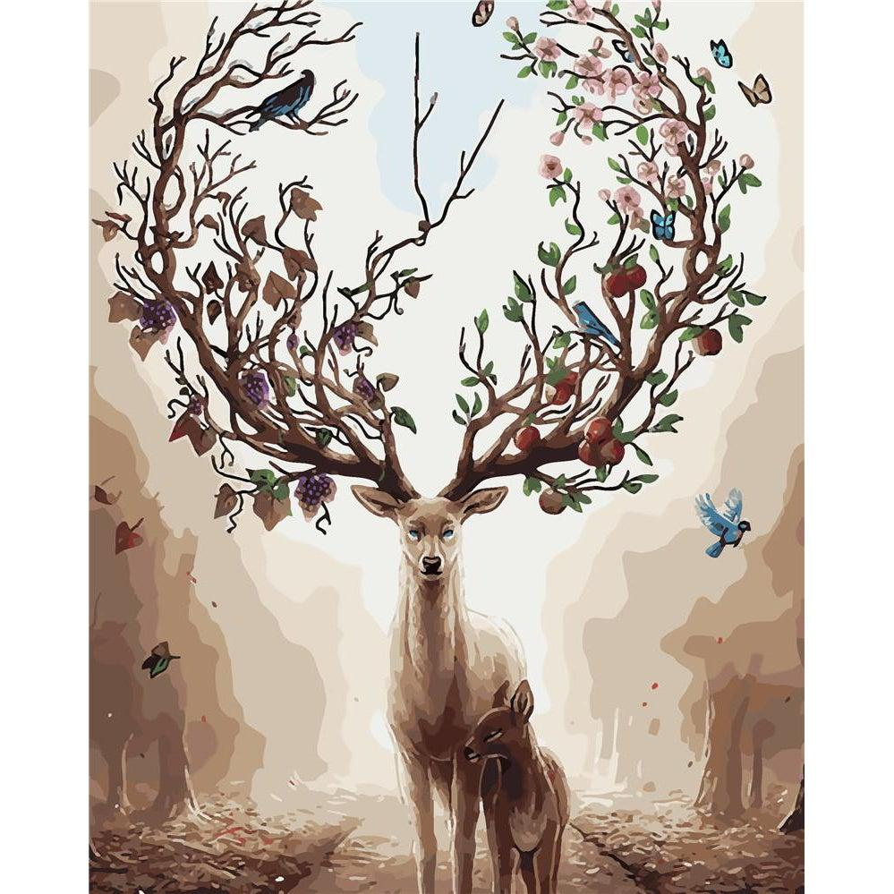 DIY Paint by Number kit for Adults on Canvas-Mother Nature Doe-40x50cm (16x20inches)