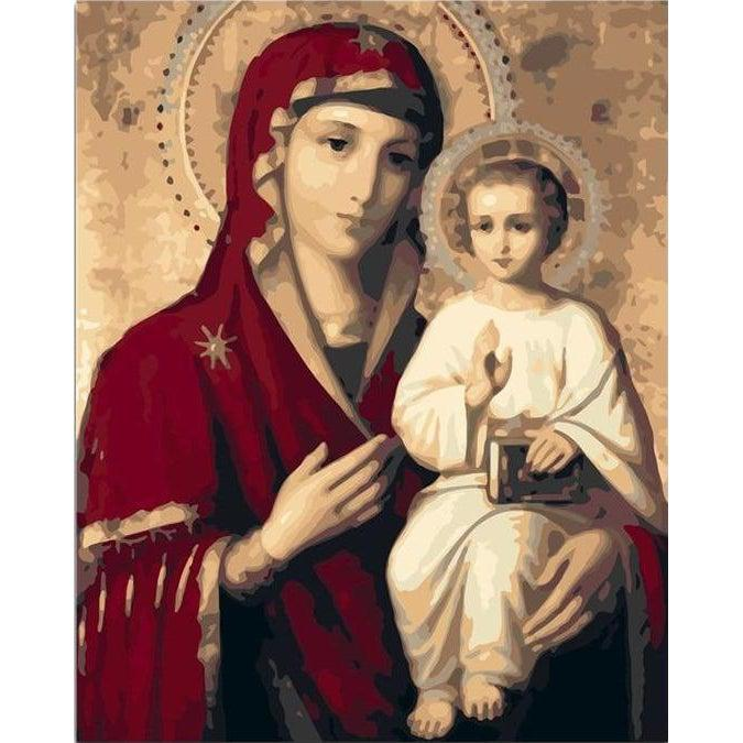 DIY Paint by Number kit for Adults on Canvas-Mother of God-40x50cm (16x20inches)