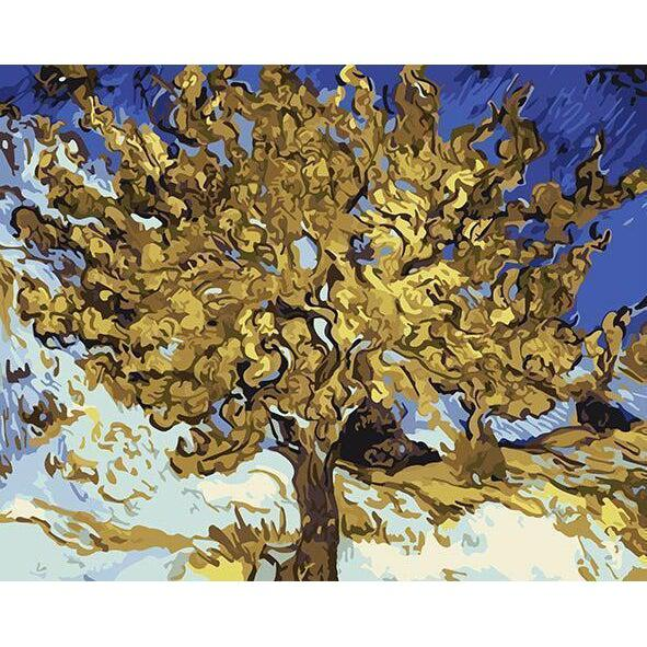 DIY Paint by Number kit for Adults on Canvas-Mulberry Tree - Van Gogh-Clean PBN