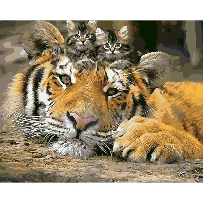 DIY Paint by Number kit for Adults on Canvas-My Tiger Cubs-40x50cm (16x20inches)