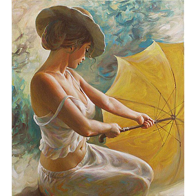 DIY Paint by Number kit for Adults on Canvas-My Yellow Umbrella-40x50cm (16x20inches)