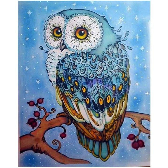 DIY Paint by Number kit for Adults on Canvas-Mystic Blue Owl-40x50cm (16x20inches)