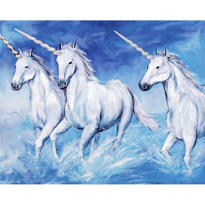 DIY Paint by Number kit for Adults on Canvas-Mythical Unicorns-Clean PBN
