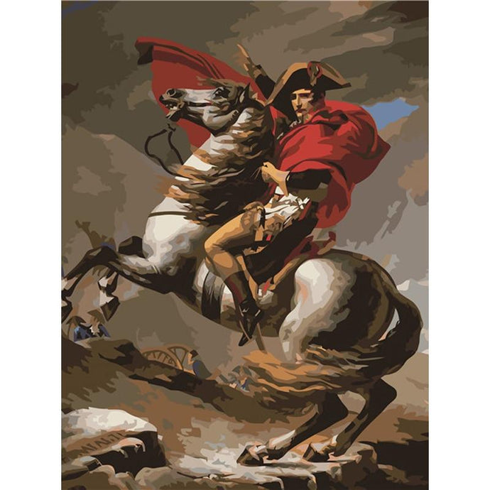 DIY Paint by Number kit for Adults on Canvas-Napoleon Crossing The Alps - Jacques Louis David - 1801-Paint By Number
