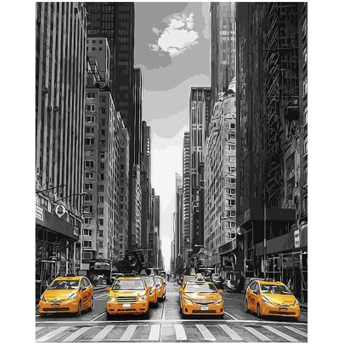 DIY Paint by Number kit for Adults on Canvas-New York Yellow Taxis-40x50cm (16x20inches)