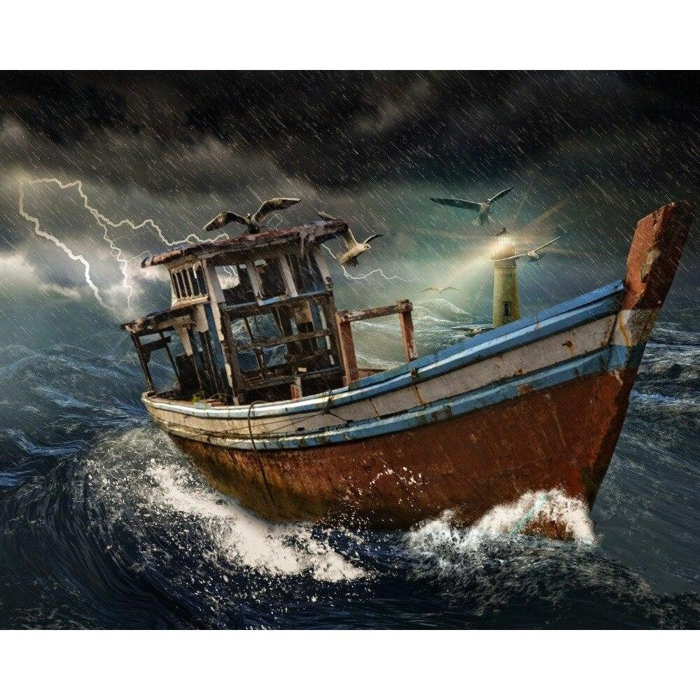 DIY Paint by Number kit for Adults on Canvas-Old Boat in a Stormy Ocean-