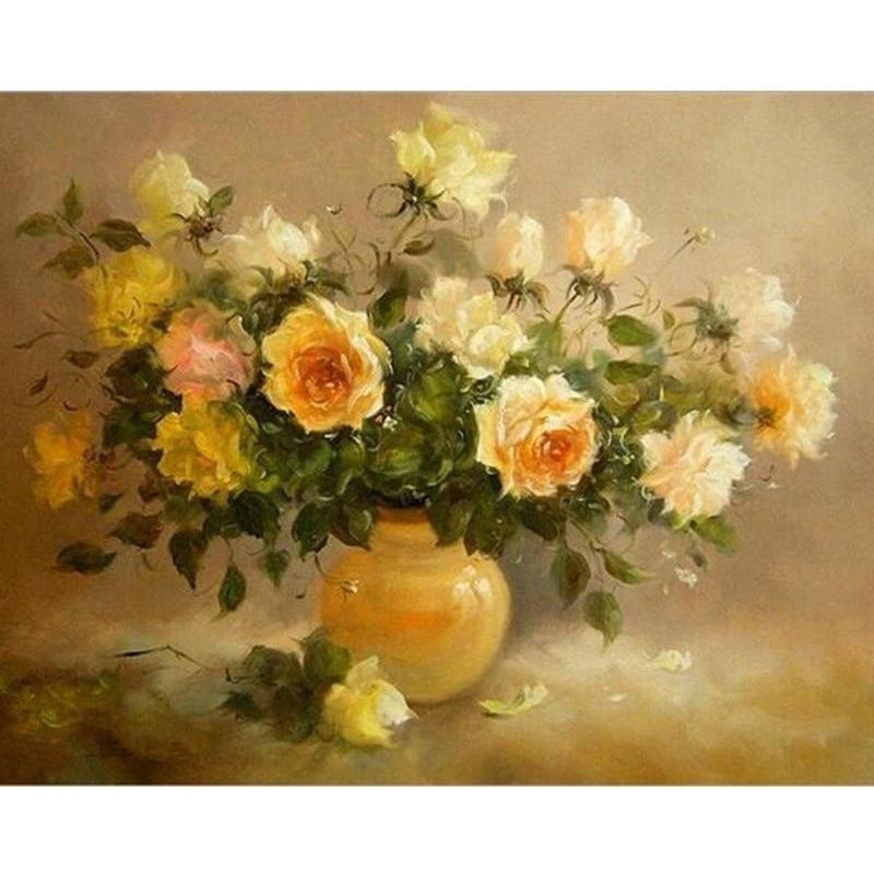 DIY Paint by Number kit for Adults on Canvas-Old Yellow Roses-