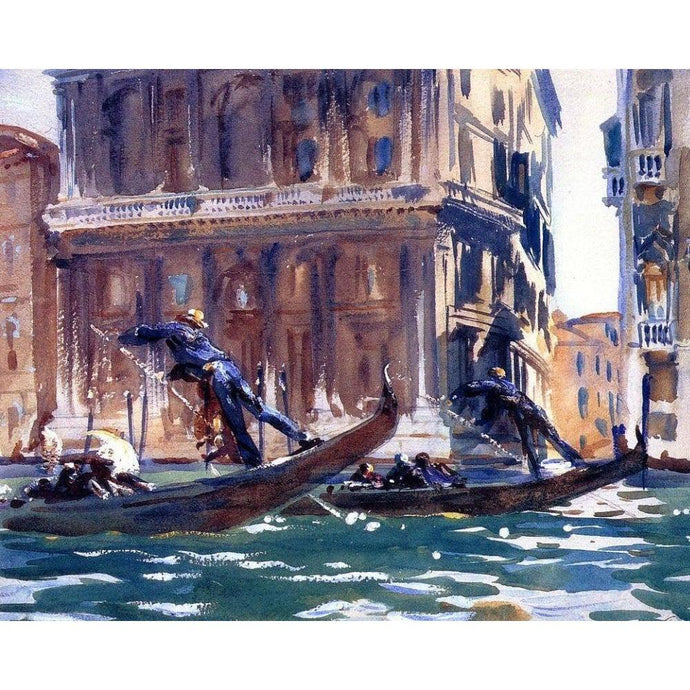 DIY Paint by Number kit for Adults on Canvas-On the Canal - John Singer Sargent -1903-Clean PBN