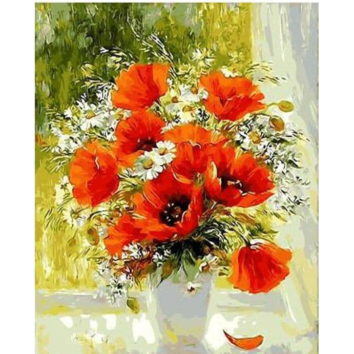 Orange Flowers in a Vase - Paint by Numbers Kit